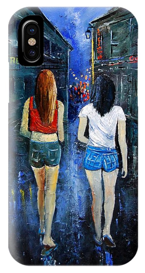 Girl IPhone X Case featuring the painting Going Out Tonight by Pol Ledent