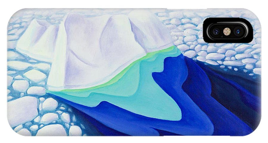 Arctic IPhone X Case featuring the painting Going With The Floe by Lynn Soehner