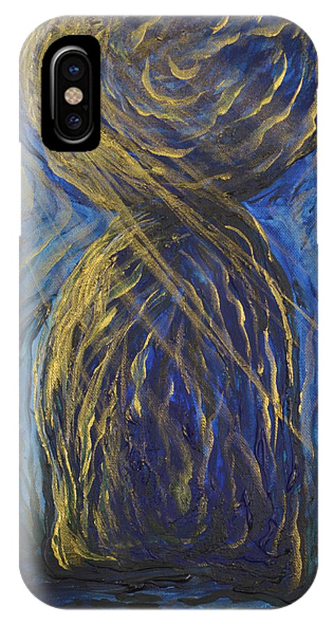 Guam IPhone X Case featuring the painting Gold And Blue Latte Stone by Michelle Pier