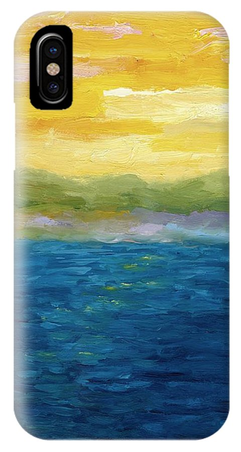 Lake IPhone X / XS Case featuring the painting Gold And Pink Sunset by Michelle Calkins