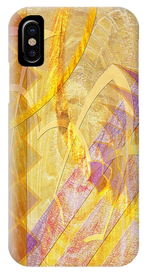 Gold Fusion IPhone X / XS Case featuring the digital art Gold Fusion by John Beck