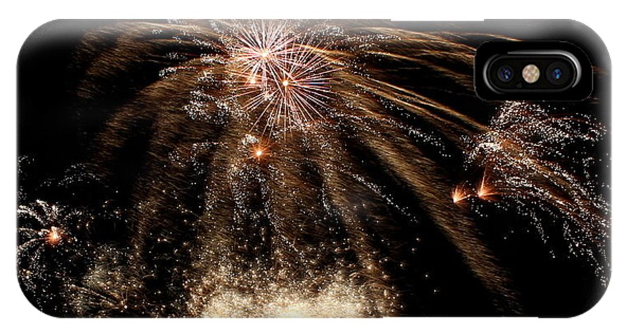 Fireworks IPhone X Case featuring the photograph Gold In Space by Mina Thompson