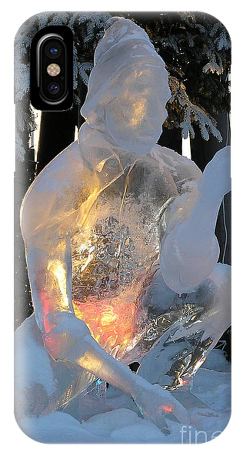 Ice Sculpture IPhone X Case featuring the photograph Gold Miner by Louise Magno