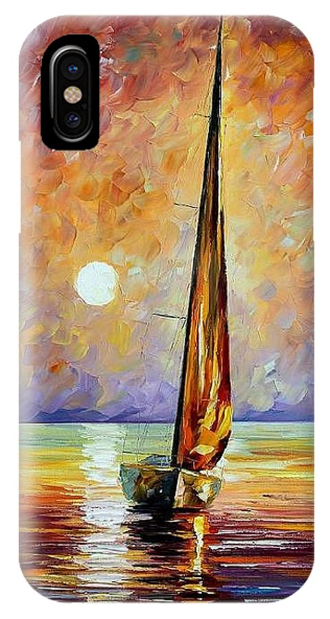 Afremov IPhone X Case featuring the painting Gold Sail by Leonid Afremov