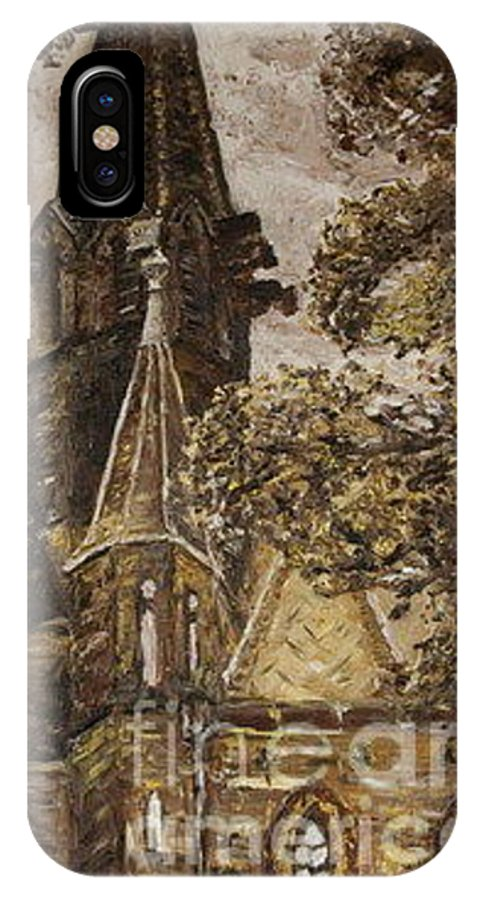 IPhone X Case featuring the painting Gold Thun Castle by Pablo de Choros