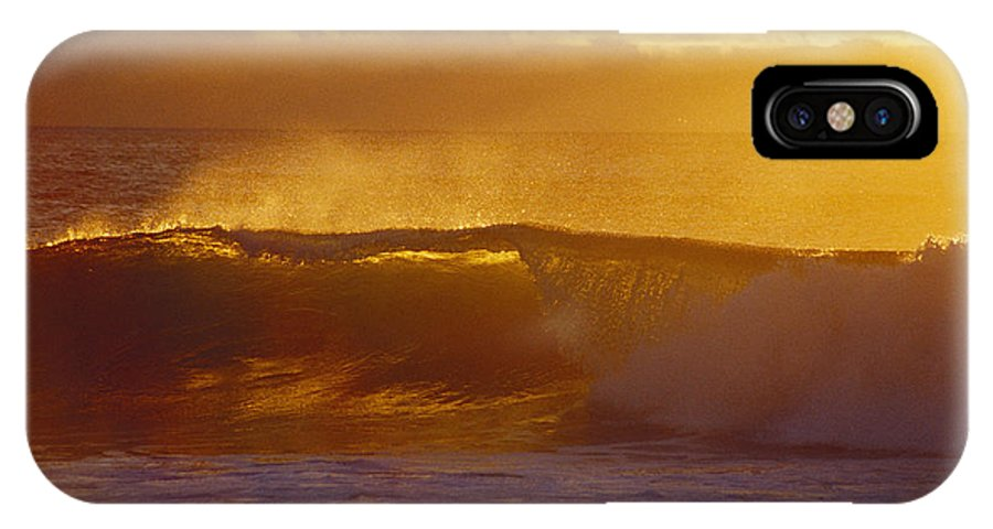 Afternoon IPhone X Case featuring the photograph Golden Backlit Wave by Vince Cavataio - Printscapes