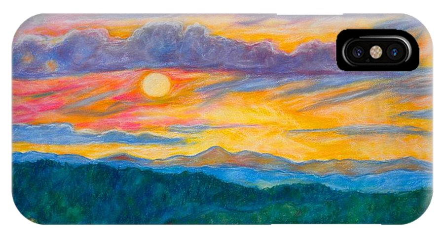 Landscape IPhone X Case featuring the painting Golden Blue Ridge Sunset by Kendall Kessler