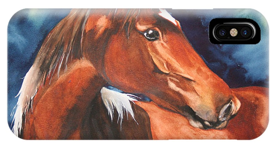 Horse IPhone X Case featuring the painting Golden Boy by Jean Blackmer