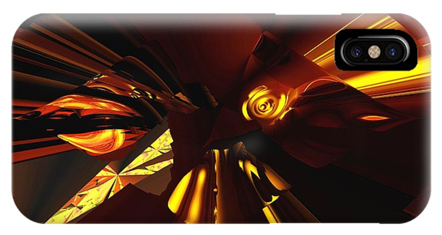 Abstract IPhone X Case featuring the digital art Golden Brown Abstract by David Lane
