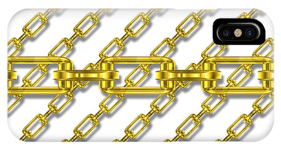 Seamless IPhone X / XS Case featuring the digital art Golden Chains With White Background Seamless Texture by Miroslav Nemecek