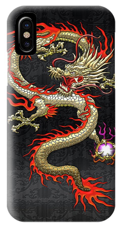 brand new ade7e 0d5a6 Golden Chinese Dragon Fucanglong On Black Silk IPhone X Case