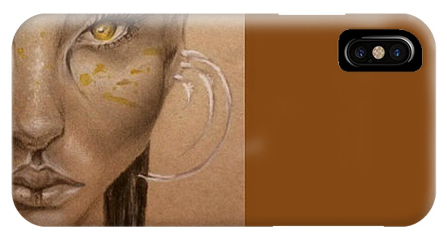 Fantasy Art IPhone X Case featuring the drawing Golden Eyes by Amanda Warin