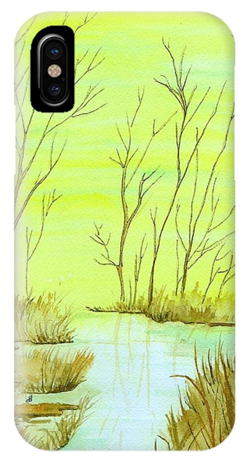 Watercolor IPhone X / XS Case featuring the painting Golden Fall Day by Brenda Owen