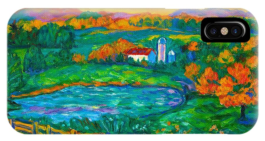 Landscape IPhone X Case featuring the painting Golden Farm Scene Sketch by Kendall Kessler