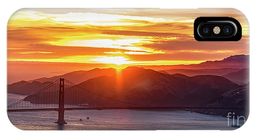 Golden Gate Bridge IPhone X Case featuring the photograph Golden Gate Bridge And San Francisco Bay At Sunset by David Oppenheimer