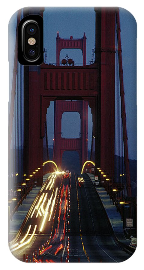 Evening IPhone X / XS Case featuring the photograph Golden Gate Bridge by Carl Purcell