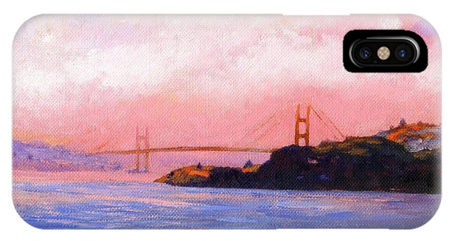 Landscape IPhone Case featuring the painting Golden Gate Bridge by Frank Wilson
