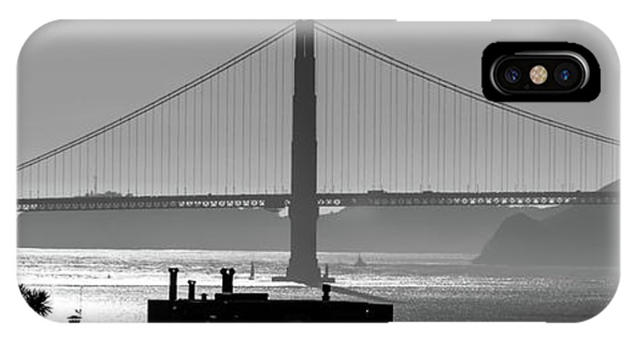 Golden IPhone X Case featuring the photograph Golden Gate Bridge In Its Beauty At Sunset by Alex Grichenko