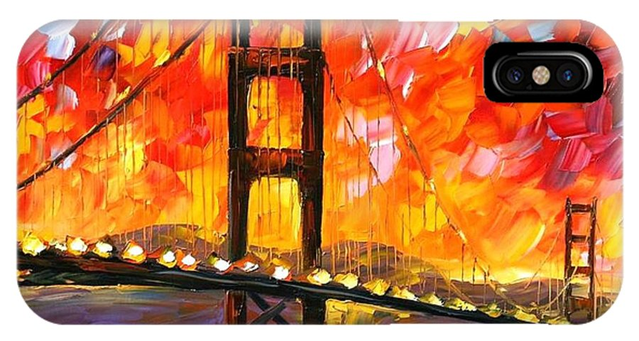 City IPhone X Case featuring the painting Golden Gate Bridge by Leonid Afremov