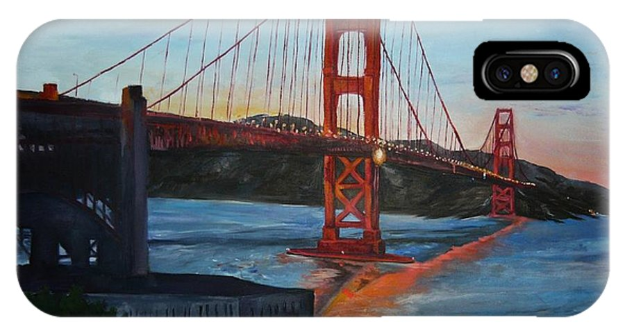 San Francisco IPhone X Case featuring the painting Golden Gate by Travis Day