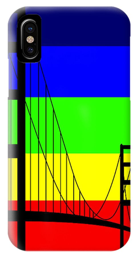 Golden Gate IPhone X / XS Case featuring the digital art Golden Gay by Asbjorn Lonvig