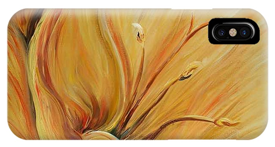 Gold IPhone X Case featuring the painting Golden Glow by Nadine Rippelmeyer