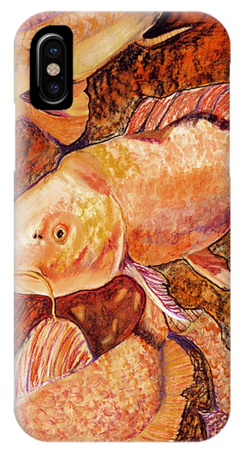 Fish IPhone X Case featuring the painting Golden Koi by Pat Saunders-White