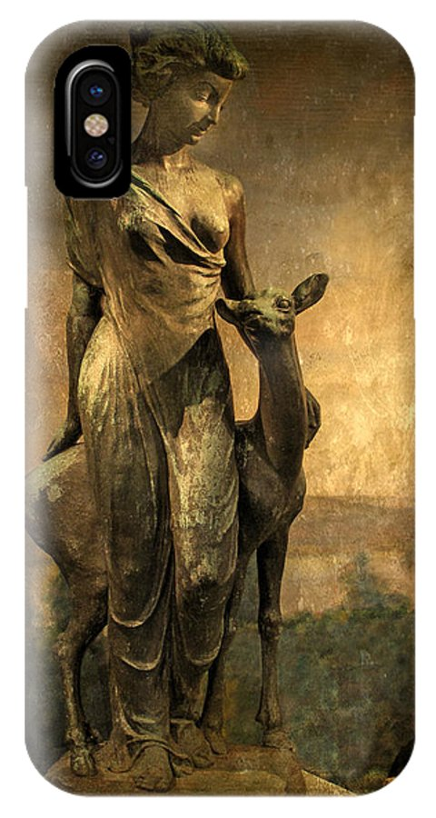 Statue IPhone X Case featuring the photograph Golden Lady by Jessica Jenney
