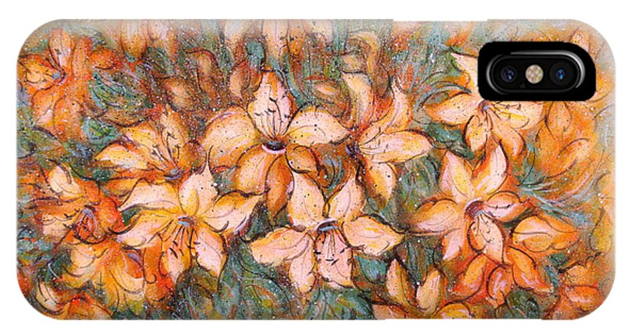 Yellow Lilies IPhone X Case featuring the painting Golden Lilies by Natalie Holland