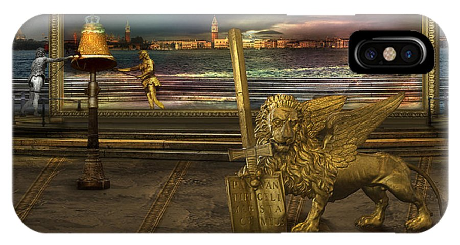 Golden Lion Gold Sword Surrealism Magic Italy Book Register Color Magical Miraculous Land Surrealism IPhone X Case featuring the photograph Golden Lion From Alternative Earth by Desislava Draganova