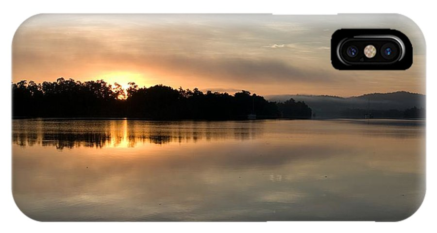 Clouds IPhone X Case featuring the photograph Golden Liquid Dawn by Kerryn Madsen-Pietsch