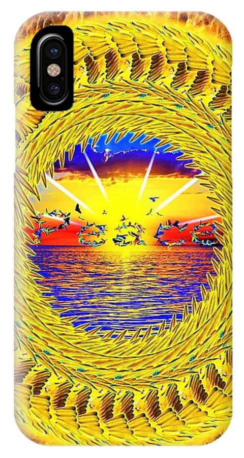 Golden IPhone X Case featuring the digital art Golden Parrot Mandala by The Awakening Art