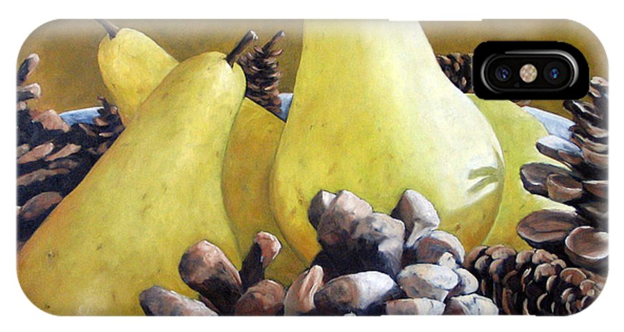 Canadian IPhone Case featuring the painting Golden Pears And Pine Cones by Richard T Pranke