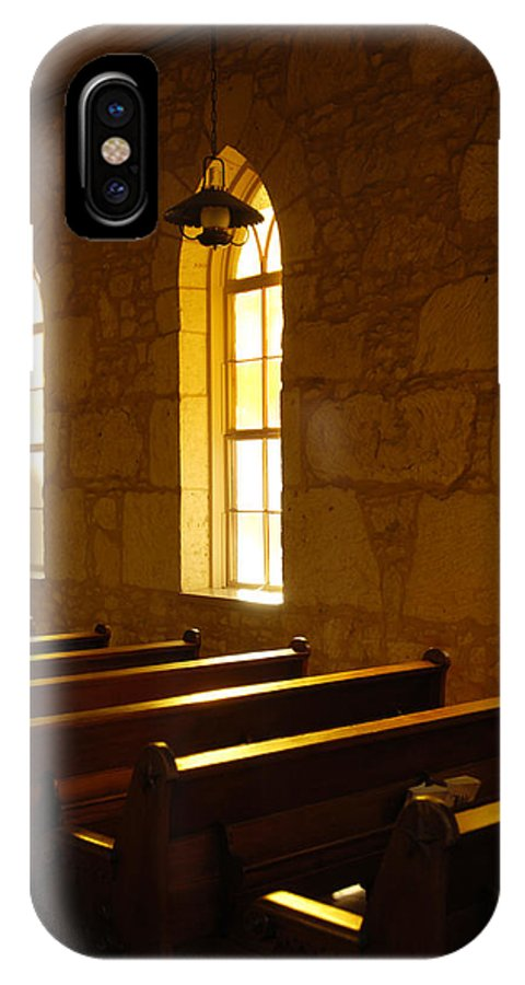Worship IPhone X Case featuring the photograph Golden Pews by Jill Reger