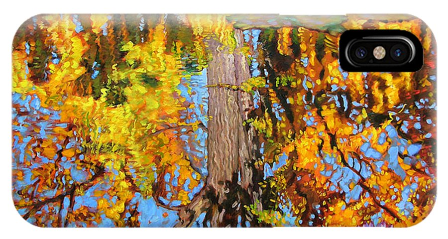 Landscape IPhone X Case featuring the painting Golden Reflections on Lily Pond by John Lautermilch