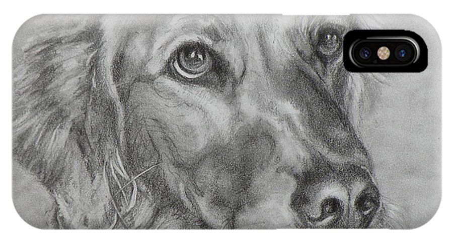 Dogs IPhone X Case featuring the painting Golden Retriever Drawing by Susan A Becker