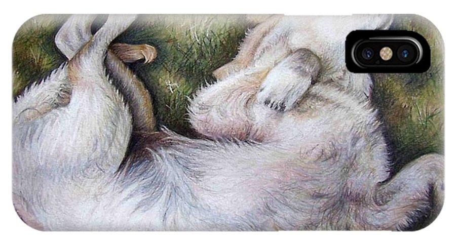 Dog IPhone X Case featuring the pastel Golden Retriever Puppy by Nicole Zeug