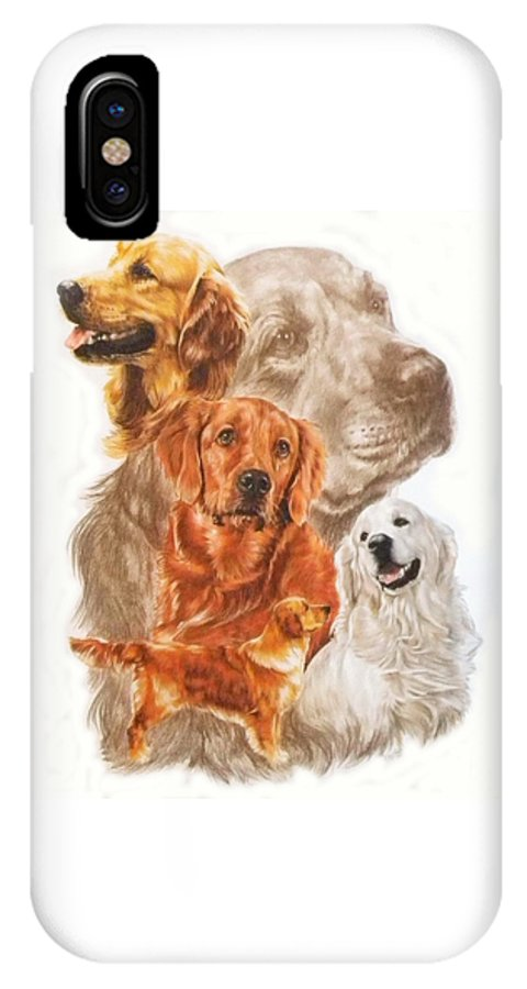 Retriever IPhone Case featuring the mixed media Golden Retriever W/ghost by Barbara Keith