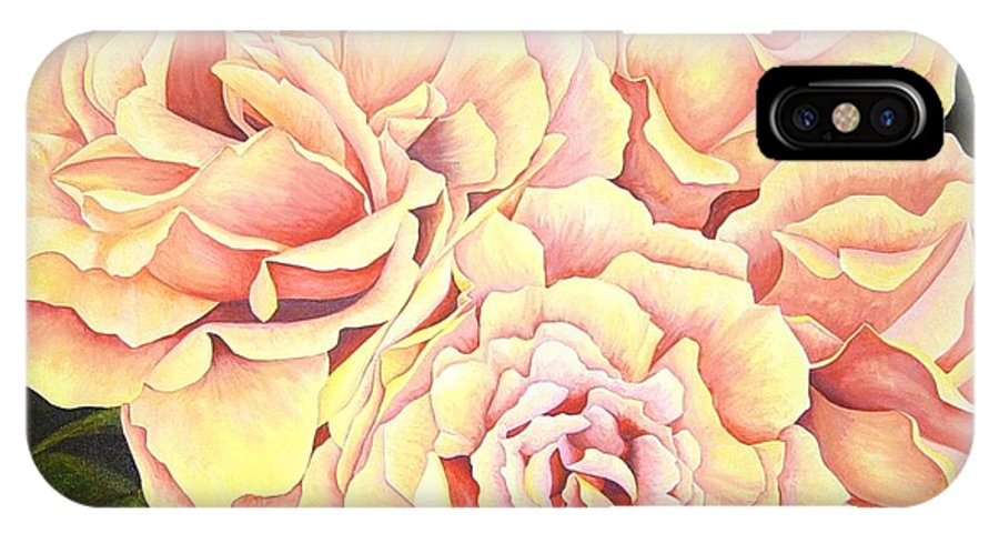 Roses IPhone X Case featuring the painting Golden Roses by Rowena Finn