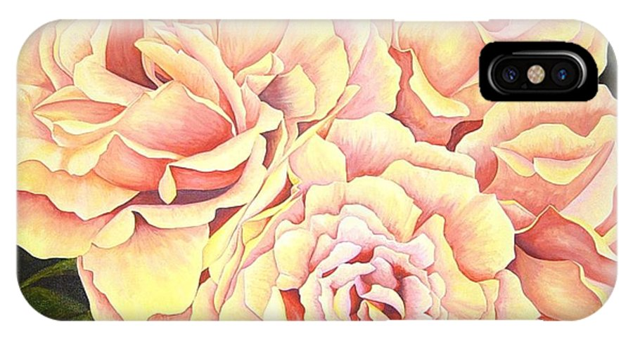 Roses IPhone X / XS Case featuring the painting Golden Roses by Rowena Finn