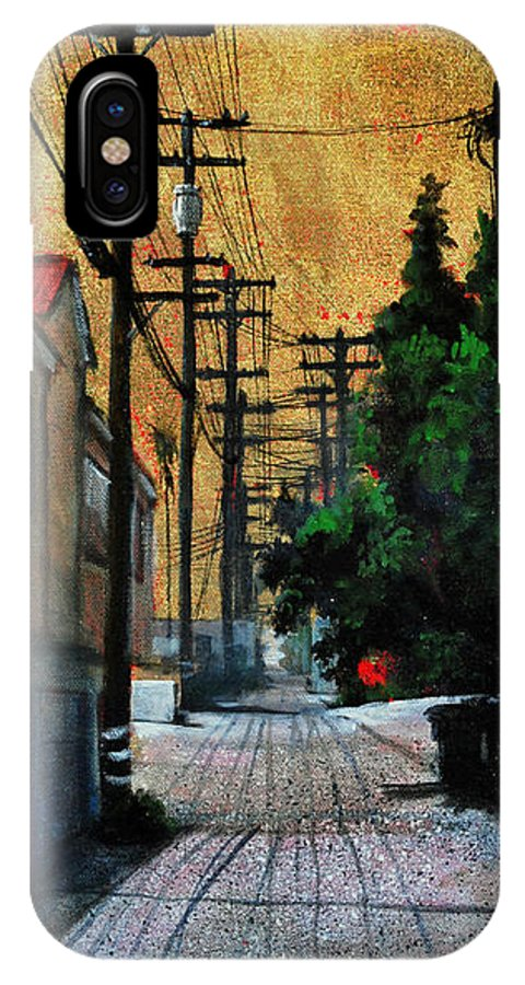 Cityscape IPhone X Case featuring the painting Golden Skies No. 3 by Duke Windsor