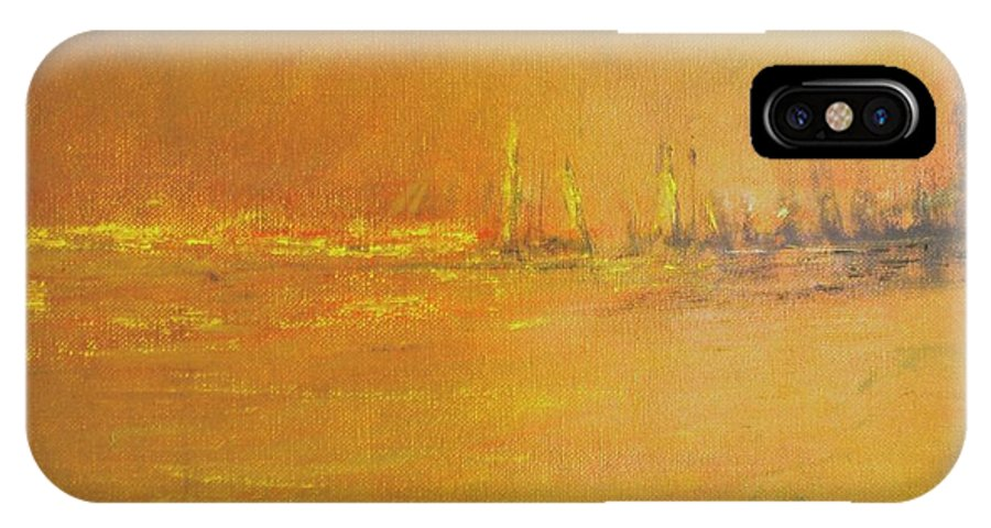 Ships IPhone X Case featuring the painting Golden Sky by Jack Diamond