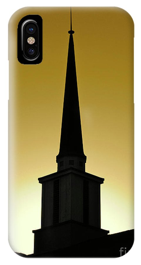 Cml Brown IPhone X Case featuring the photograph Golden Sky Steeple by CML Brown