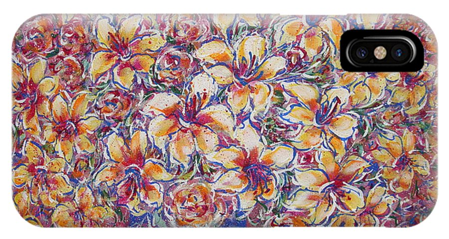 Lily IPhone X Case featuring the painting Golden Splendor by Natalie Holland