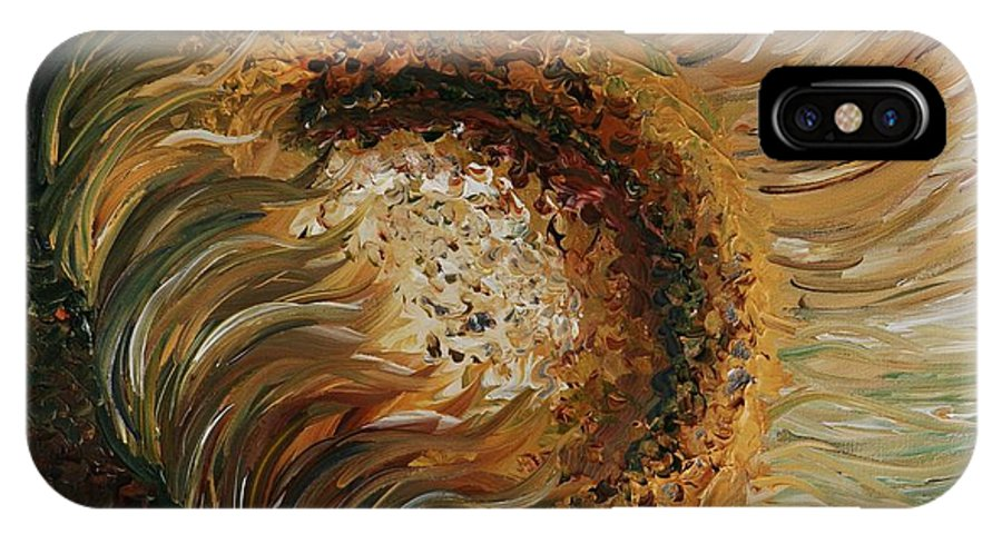 Sunflower IPhone Case featuring the painting Golden Sunflower by Nadine Rippelmeyer