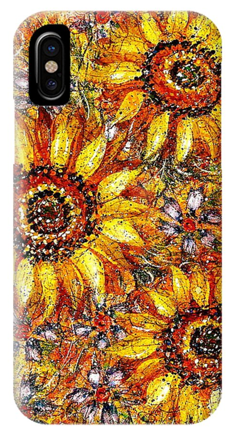 Sunflowers IPhone X Case featuring the painting Golden Sunflower by Natalie Holland