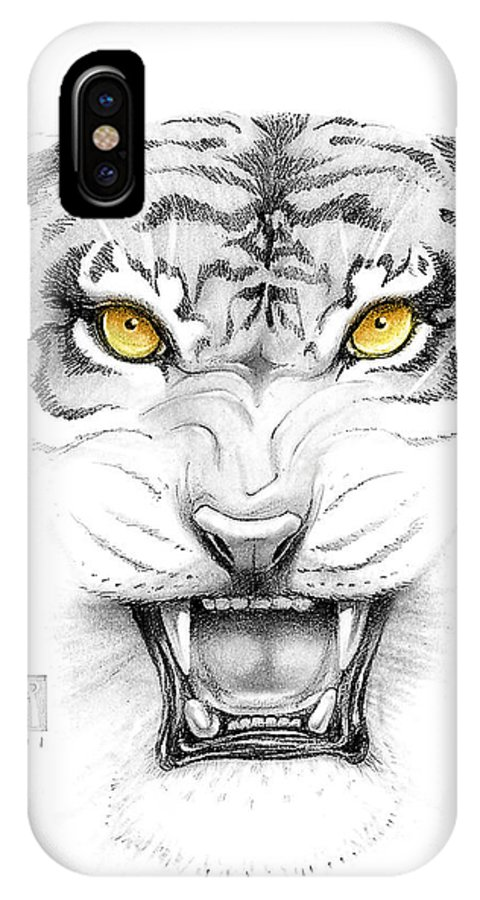Amber IPhone Case featuring the digital art Golden Tiger Eyes by Melissa A Benson