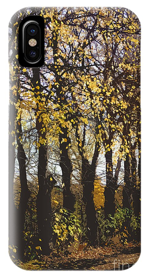 Abstract IPhone X Case featuring the digital art Golden Trees 1 by Carol Lynch