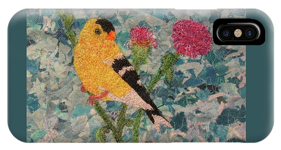 Goldfinch IPhone X Case featuring the tapestry - textile Goldfinch by Dolores Fegan