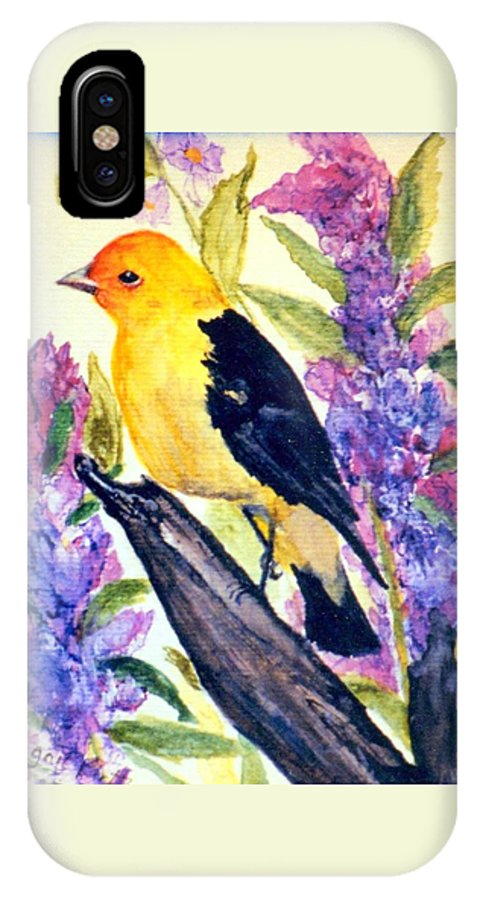 Birds IPhone X Case featuring the painting Goldfinch by Gail Kirtz